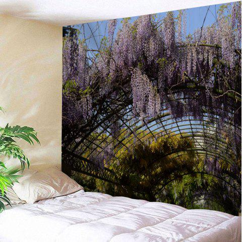 Pergola Wistaria Flowers Print Tapestry Wall Hanging Art - multicolore W79 INCH * L71 INCH