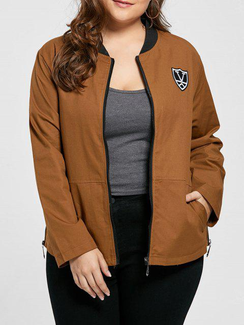 Plus Size Embroidered Pocket Zipper Jacket - BROWN 2XL