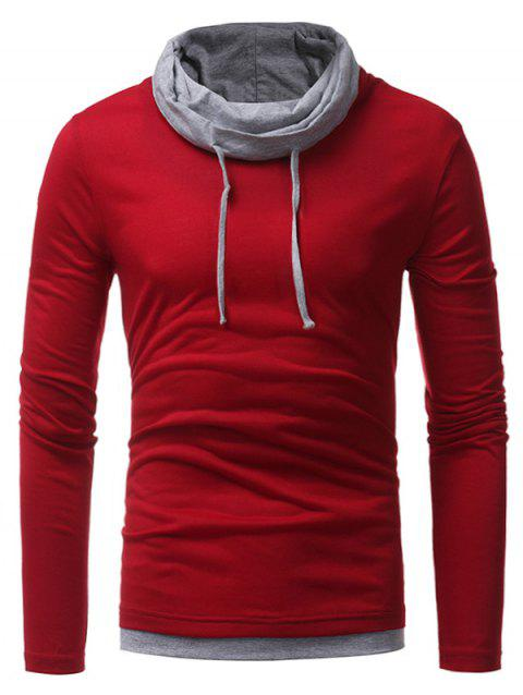 Faux Twinset Cowl Neck Drawstring T-shirt - Rouge XL