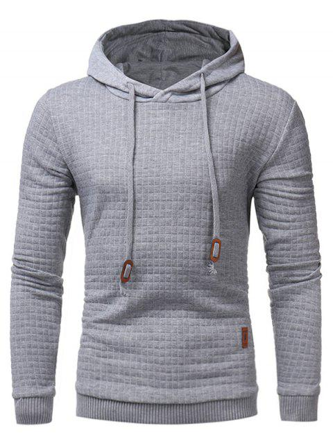 Drawstring Applique Checked Embossing Hoodie - LIGHT GRAY M