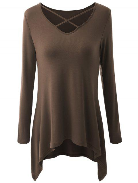 Plus Size Criss Cross Asymmetrical T-shirt - COFFEE 4XL