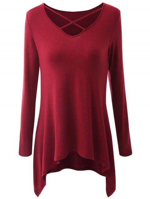 Plus Size Criss Cross Asymmetrical T-shirt - WINE RED 3XL
