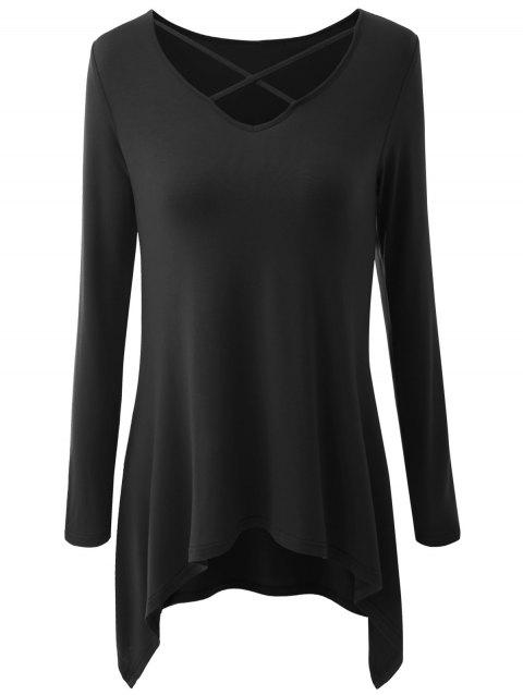 Plus Size Criss Cross Asymmetrical T-shirt - BLACK 3XL
