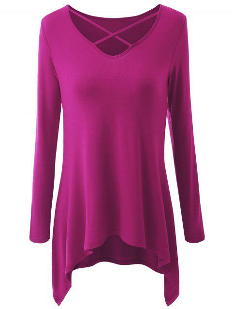 Plus Size Criss Cross Asymmetrical T-shirt - ROSE RED XL
