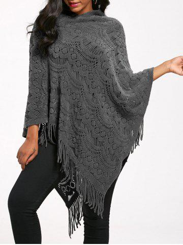 Fringed Crochet Asymmetrical Knit Poncho