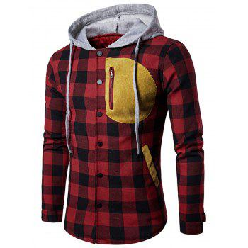 Snap Button Front Contrast Plaid Hoodie
