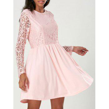 Lace Long Sleeve Cocktail A Line Dress