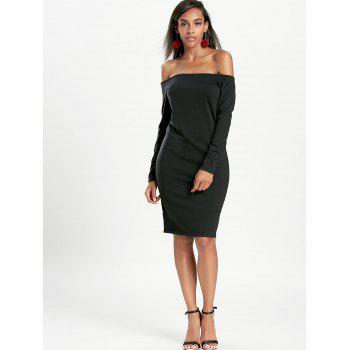 Long Sleeve Off The Shoulder Bodycon Dress - BLACK M