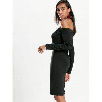 Long Sleeve Off The Shoulder Bodycon Dress - BLACK BLACK