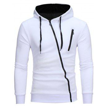 Oblique Color Block Zippers Fleece Hoodie