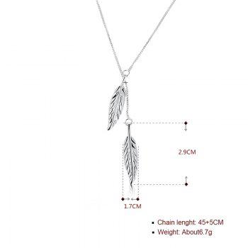 Alloy Collarbone Leaf Pendant Necklace - SILVER