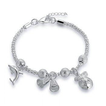 Dolphin Christmas Bell Charm Chain Bracelet - SILVER SILVER