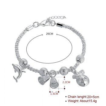 Dolphin Christmas Bell Charm Chain Bracelet - SILVER