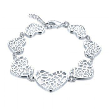 Alloy Metal Heart Chain Bracelet -  SILVER