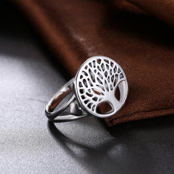 Alloy Round Tree of Life Ring - Argent 6