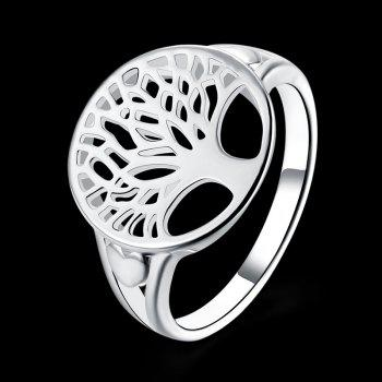 Alloy Round Tree of Life Ring - Argent 8