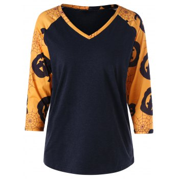 Raglan Sleeve Pumpkin Spider Web T-shirt