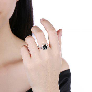 Cute Alloy Round Clock Ring - SILVER SILVER
