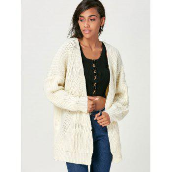 Open Front Chunky Sweater Cardigan - BEIGE ONE SIZE