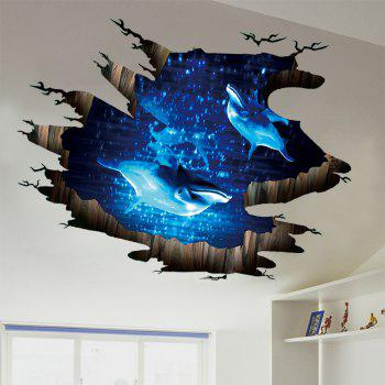 Dolphin 3D Broken Floor Sticker - BLUE 60*90CM