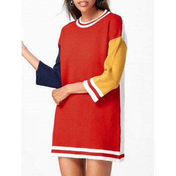 Color Block Shift Mini Sweater Dress - RED ONE SIZE
