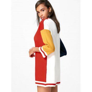 Color Block Shift Mini Sweater Dress - ONE SIZE ONE SIZE