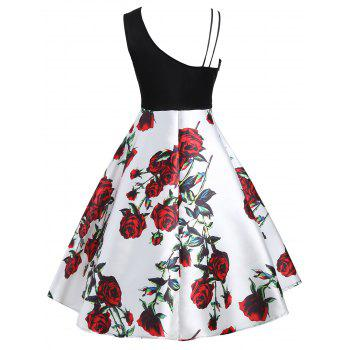 Skew Neck Floral Print A Line Dress - RED S