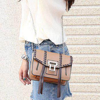 Color Block Whipstitch Crossbody Bag - BROWN
