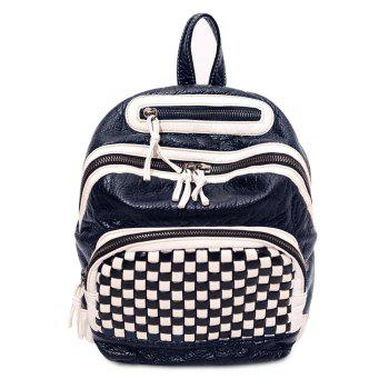 Plaid Pattern Textured Leather Backpack - WHITE WHITE