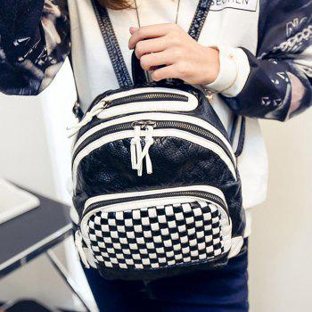 Plaid Pattern Textured Leather Backpack -  WHITE