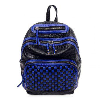 Plaid Pattern Textured Leather Backpack - BLUE BLUE
