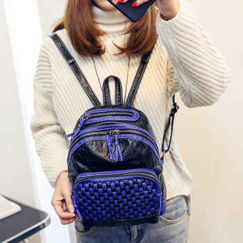 Plaid Pattern Textured Leather Backpack -  BLUE