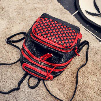 Plaid Pattern Textured Leather Backpack -  RED