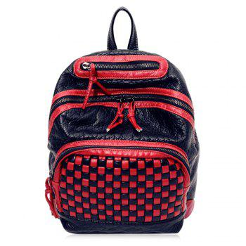 Plaid Pattern Textured Leather Backpack - RED RED
