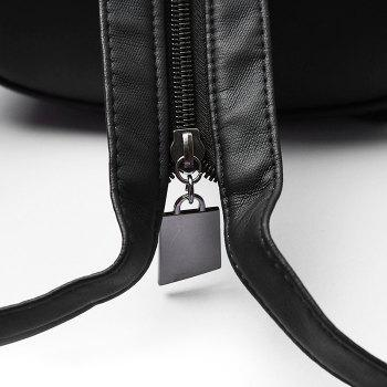 Embroidery Zipper Backpack -  BLACK