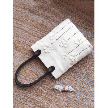 Flower Embellishment Canvas Shoulder Bag - WHITE