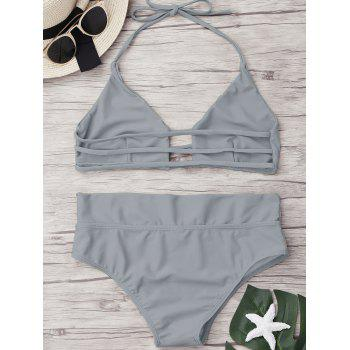 High Waist Unlined Bikini Set - SMOKY GRAY XL