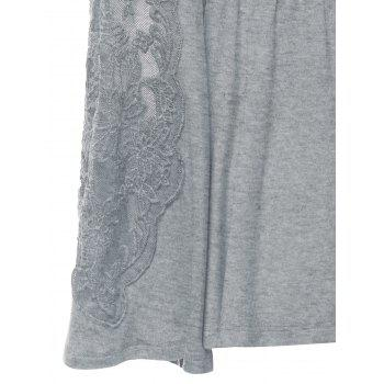 Plus Size Surplice Bell Sleeve Lace Panel Tee - GRAY GRAY