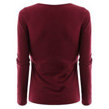 Plus Size Criss Cross V Neck Tee - WINE RED WINE RED