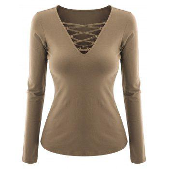 Plus Size Criss Cross V Neck Tee - CAMEL CAMEL