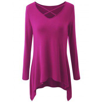 Plus Size Criss Cross Asymmetrical T-shirt - ROSE RED ROSE RED
