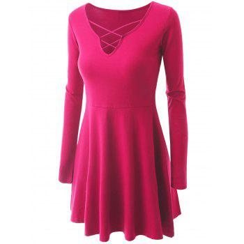 Criss Cross Skirted Plus Size Tee - ROSE RED 2XL