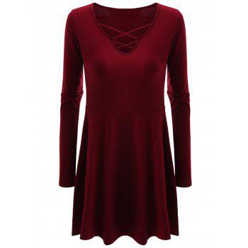 Criss Cross Skirted Plus Size Tee - WINE RED WINE RED