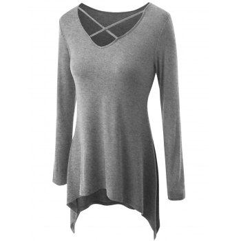 Plus Size Criss Cross Asymmetrical T-shirt - GRAY 2XL