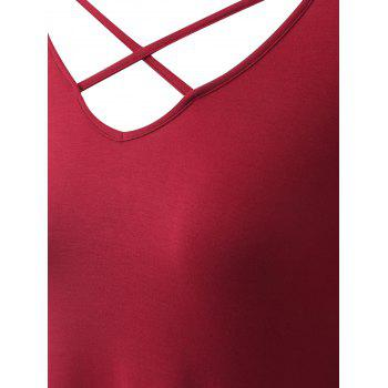 Plus Size Criss Cross Asymmetrical T-shirt - WINE RED WINE RED
