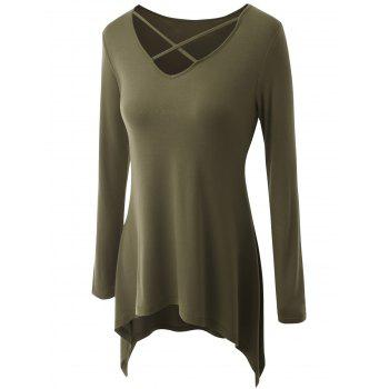 Plus Size Criss Cross Asymmetrical T-shirt - ARMY GREEN ARMY GREEN