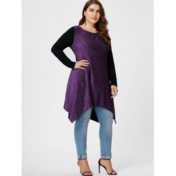 Plus Size Sequined Handkerchief Hem Top - PURPLE PURPLE