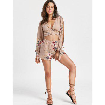 Split Sleeve Floral Crop Top with Shorts - APRICOT S