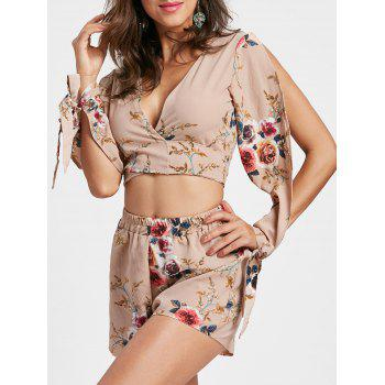 Split Sleeve Floral Crop Top with Shorts - APRICOT M
