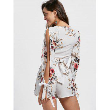 Split Sleeve Floral Crop Top with Shorts - M M